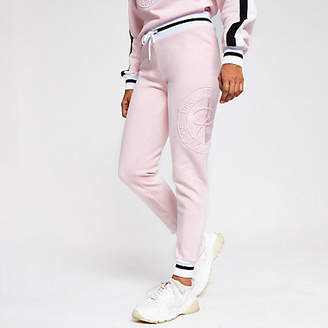 River Island Petite pink Prolific embroidered joggers