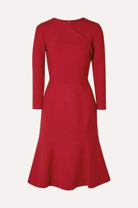 Oscar de la Renta Draped Wool-blend Dress - Red