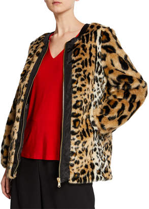 Donna Karan Leopard-Print Faux-Fur Coat