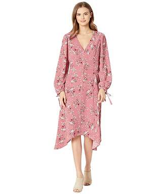Kensie Charmed Bouquets Long Sleeve Dress with Tie Details at the Cuff KS0K8406