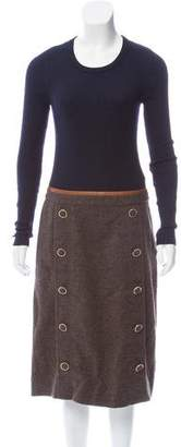 Tory Burch Leather-Trimmed Wool Dress