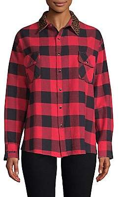 The Kooples Women's Silk Buffalo Check Shirt