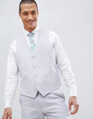 French Connection Wedding Linen Slim Fit Vest