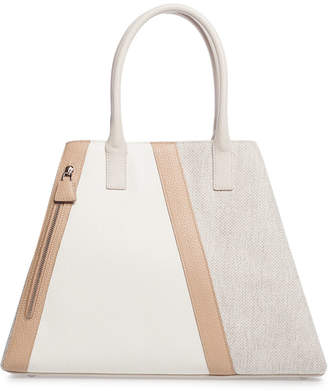 Akris Ai Medium Bratescu Line Canvas & Leather Top-Handle Tote Bag