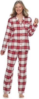 Croft & Barrow Petite Flannel Shirt & Pants Pajama Set