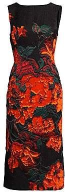 Oscar de la Renta Women's Trufted Rose Fitted Sheath Dress