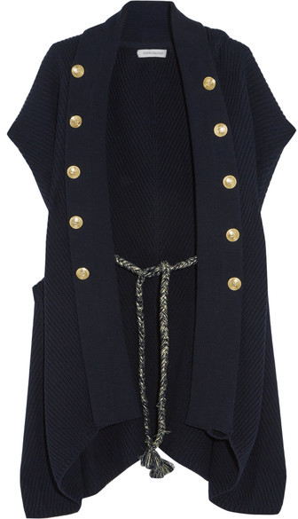Balmain Pierre Balmain - Embellished Ribbed Cotton Cardigan - Navy