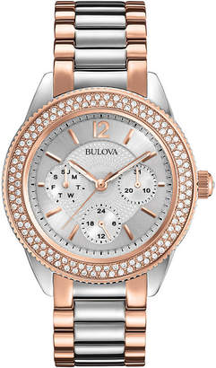 Bulova Womens Crystal-Accent Two-Tone Stainless Steel Bracelet Watch 98N100