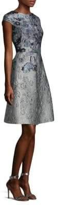 St. John Metallic Floral Jacquard Dress