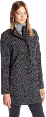 Lucky Brand Women's Tweed High Collar Wool Coat with Hidden Placket and Snap Buttons