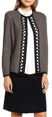 Ming Wang Circle Trim Tweed Jacket