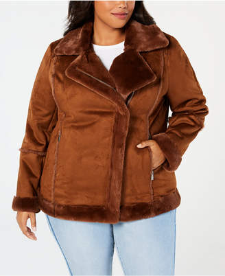 Style&Co. Style & Co Plus Size Faux-Shearling Moto Jacket, Created for Macy's