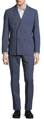 Tallia Orange Striped Double-Breasted Wool Suit