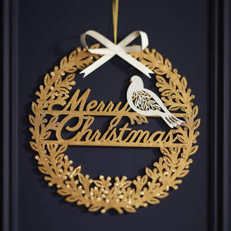 The Christmas Home Gold Laser Cut Merry Christmas Wreath