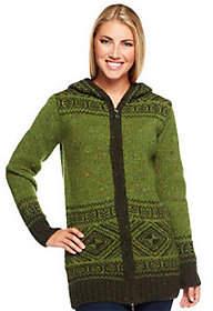 Aran Craft Wool Long IntarsiaZip Hoodie