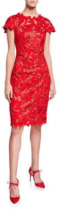 Tadashi Shoji Cap-Sleeve Lace Sheath Dress