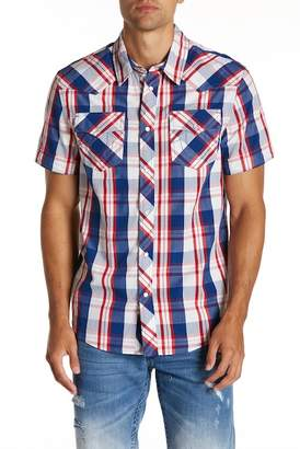 True Religion Western Plaid Short Sleeve Regular Fit Shirt