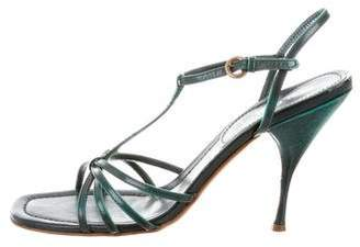 Miu Miu Leather T-Strap Sandals