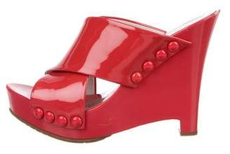 Pedro Garcia Patent Leather Peep-Toe Wedges