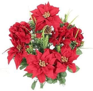 AdmiredbyNature Christmas Themed Mixed Flower Arrangement with Poinsettias and Hydrangea. Flower