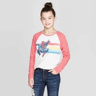 Marvel Girls' Spider-Man Long Sleeve Raglan T-Shirt - Ivory