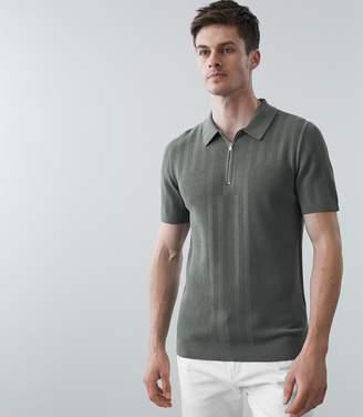 Reiss Reddington - Zip Detail Polo Shirt in Sage