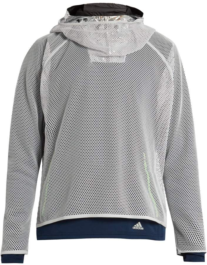 ADIDAS BY KOLOR Mesh and foil hooded sweatshirt
