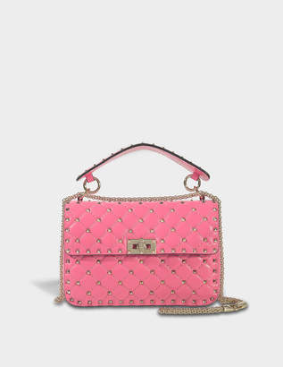Valentino Rockstud Spike Medium Shoulder Bag in Shadow Pink Nappa Leather e4bf7e47fab63