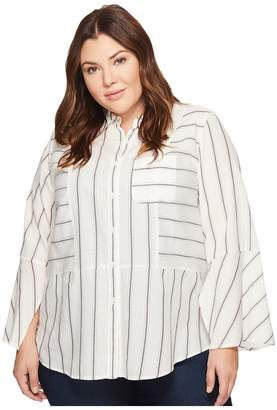 Vince Camuto Plus Size Bell Sleeve Yarn-Dye Stripe Collared Shirt Women's T Shirt