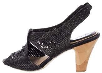 Frye Leather Woven Peep-Toe Sandals