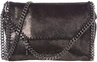 Stella McCartney Falabella Metallic Shaggy Deer Fold-Over Shoulder Bag