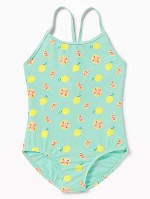 Old Navy Printed Keyhole-Back Swimsuit for Girls