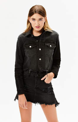 KENDALL + KYLIE Kendall & Kylie Black Frayed Hem Cropped Trucker Jacket