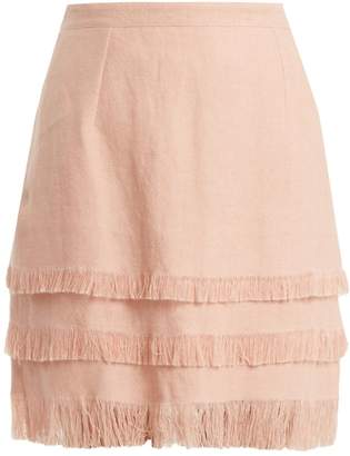 Andrew Gn Tiered linen mini skirt