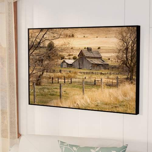 August Grove Roadside Barn Framed Photographic Print on Gallery Wrapped Canvas