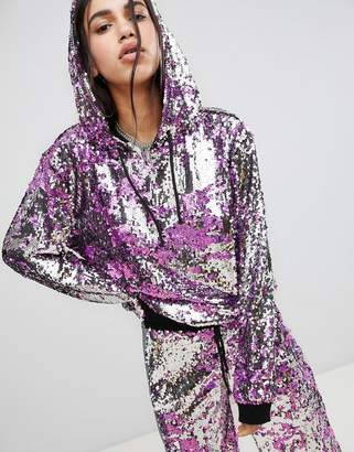 Jaded London Festival All Over Sequin Hoodie