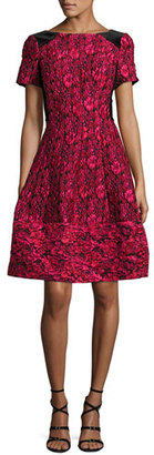 Rickie Freeman for Teri Jon Short-Sleeve Floral Jacquard Fit-and-Flare Dress, Cherry $530 thestylecure.com
