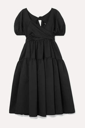Sophie Bille Brahe Cecilie Bahnsen Tiered Mattelassé Silk-blend Dress - Black