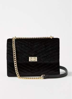 Miss Selfridge Velvet Quilted Cross Body Bag - Black