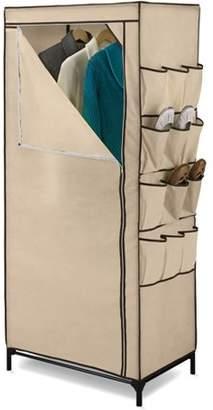 "Honey-Can-Do 27"" Storage Closet with Shoe Organizer, Khaki/Brown Trim"