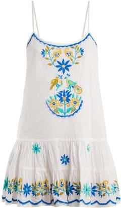Juliet Dunn Floral-embroidered cotton dress