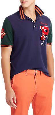 Ralph Lauren Polo Varsity Short Sleeve Polo Shirt, Navy/Orange