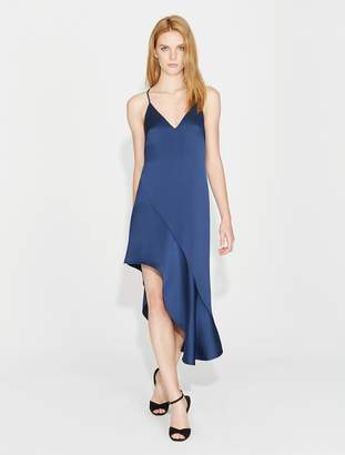 Halston Asymmetric Skirt Satin Dress