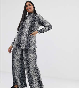 Verona Curve wide leg trouser co-ord in python print