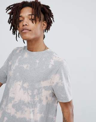 Asos DESIGN relaxed longline t-shirt with bleach wash in gray
