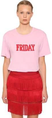 Alberta Ferretti Embroidered Cotton Jersey T-Shirt