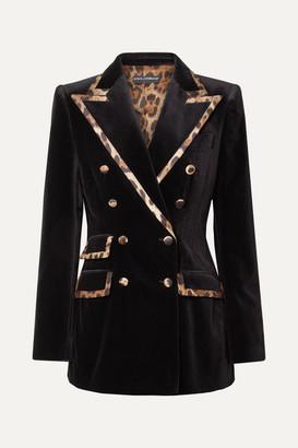 Dolce & Gabbana Leopard-print Satin-trimmed Cotton And Silk-blend Velvet Blazer - Black