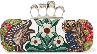Alexander McQueen Embellished Appliquéd Leather Clutch - White