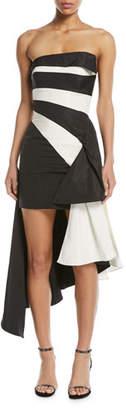 Rubin Singer Striped Strapless Asymmetrical Silk Taffeta Cocktail Dress