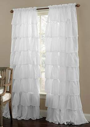 """1PC Gypsy Window Treatment Curtain Crushed Sheer Panel Drape Ruffle Style Semi-sheer Fully Stitched with Rod Pocket for any Room Avilabale in Multiple Colors and Size(55"""" Wide x 84"""" Long"""